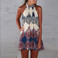 Fashion Floral Printed Sexy Casual Summer Loose Sleeveless Erotic One Piece Dress  _ 8396