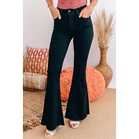 Getting Groovy High Rise Bell Bottom Pants (Black)