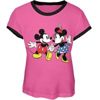 Mickey Mouse - Holding Hands Girls Youth Ringer