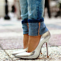 Chassidy Silver Leather Pumps