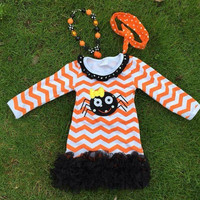 Girls Halloween Dress, Spider Halloween Dress, Spider Halloween Outfit, Chevron Halloween Dress, Halloween Dress, Halloween Spider Costume