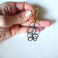 Handmade Multi Circle Gold Vermeil and Oxidized Sterling Silver Circle Long Dangle Mixed Metals Earrings; Layered Modern Gold Earrings