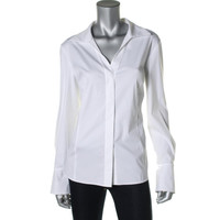 Lafayette 148 New York Womens Placket Spread Collar Button-Down Top