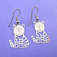 Adorable Kawaii Striped Kitty Cat Cut Out Shaped Dangle Earrings in Silver | DOTOLY