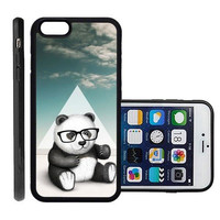 RCGrafix Brand Hipster Baby Panda Geek Glass Apple Iphone 6 Plus Protective Cell Phone Case Cover - Fits Apple Iphone 6 Plus