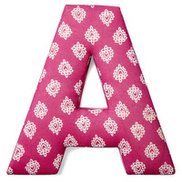 "7"" Fabric Letter, Fuchsia/White"