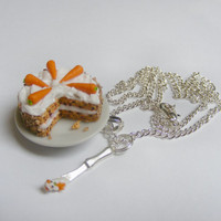 Food Jewelry Carrot and Walnut Cake Pendant-Miniature Food Jewelry,Handmade Jewelry,Mini Food Jewelry,Miniature Food Necklace,Kawaii Jewelry