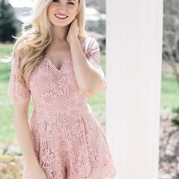 Mayflower Lace Romper, Dusty Pink