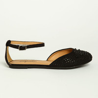 STUDDED ANKLE STRAP LOAFERS