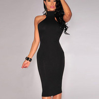 Turtleneck Sleeveless Cutout Midi Bodycon Dress
