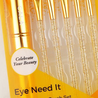 Cala Eye Need It Make-up Brush Set in Gold Glitter
