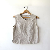 Vintage linen tank top. cropped oatmeal blouse. minimalist modern tank. women's shirt top. Small Medium