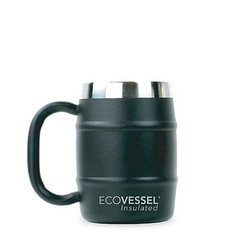 DOUBLE BARREL - Insulated Coffee Mug / Beer Mug - 16 oz