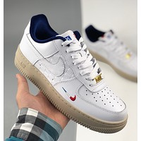 Nike force Air Force One KITH French limited color matching Fashion casual sneakers with three-color embroidery on the toe