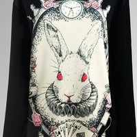 Womens Fashion Stylish Gothic Alice from wonderland RABBIT black Pullover Sweater Top (Size: M, Color: Black) = 1920321604