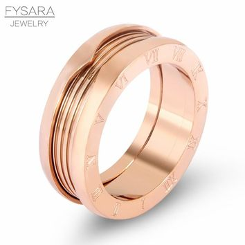 FYSARA Luxury Brand Roman Numeral Letter Imitated Spring Finger Rings For Women Couple Jewelry 7mm Stainless Steel Love Ring Men