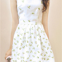 Floral Organza Embroidered Skater Dress