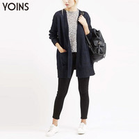 YOINS 2016 Spring New Arrival Casual Wear Chunky Knit Cardigan Women Loose Pockets Hooded Fashion Long Sweater Coat Outwear