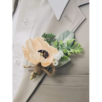 Real touch Poppy Boutonniere
