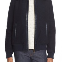 A.P.C. 'Stacy' Faux Leather Trim Wool Jacket with Removable Genuine Shearling Collar   Nordstrom
