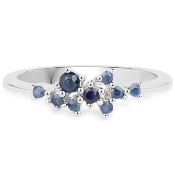 LoveHuang 0.26 Carats Genuine Blue Sapphire Ring Solid .925 Sterling Silver With Rhodium Plating