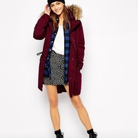 Only Long Line Parka With Fur Hood