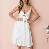 Spaghetti Strap Dress Bow Tie Midi Dress V Neck Button Up Girl Dress Sexy Chic Streetwear