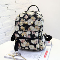 Women Backpack 2016 Hot Sale Fashion Causal High Quality Floral Printing PU Leather Backpacks For Girls,mochila