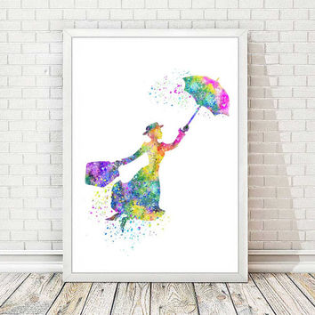Mary Poppins Art Print Disney Poster Watercolor Illustration Nursery Art Home Decor Children Kid's Room Wall Art Wedding Gift Art Decor A72