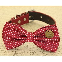 Red Dog Bow Tie collar, Red Polka dots, Charm, Dog Birthday gift