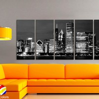 "XLARGE 30""x 70"" 5 Panels Art Canvas Print beautiful Chicago Skyline night Black & White Wall Home office decor interior ( framed 1.5"" depth)"