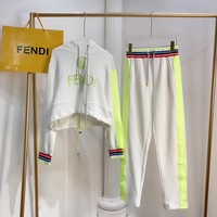 FENDI Women Long Sleeve Embroidery Hoodie Pants Two-Piece