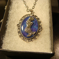 Small Mermaid Necklace - Blue / Purple Glitter Background (2252)