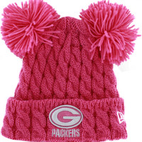 New Era Green Bay Packers Pom Doubler Baby Girls Pink Knit Hat