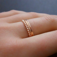 Rose Gold Filled Ring Set Set Of 3 Rings Hammered by annikabella