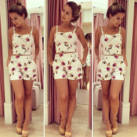 White Floral Print Strappy and High Waisted Short with Pocket Set