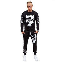 New Men Sets Fashion Autumn Spring Printing Sporting Suit Sweatshirt +Sweatpants Mens Clothing 2 Pieces Sets Slim Tracksuit