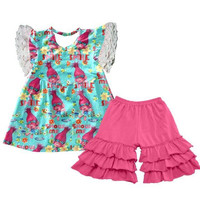 Trolls Outfit: Tunic Ruffle Shorts - Baby,Toddler & Girls 12 Months To 12 Years