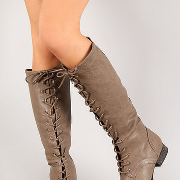 Breckelle Round Toe Lace Up Combat Knee High Boot