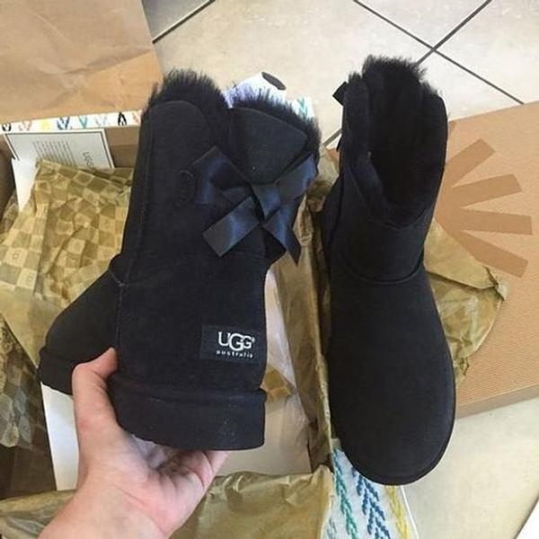 Image of UGG Fashion Women Bow Leather Wool Snow Boots Half Boots Shoes