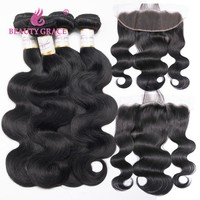 Beauty Grace Brazilian Body Wave Bundles With Frontal Human Hair Weave 3 Bundles And Remy 13x4 Lace Frontal Closure With Bundles