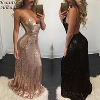 High Quality Sexy Women Gold Sequin Long Dresses 2017  Even night Spaghetti Strap Backless Maxi Party Dress Vestido