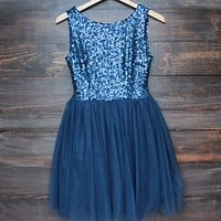 Final Sale - Sugar Plum Dazzling Navy Sequin Tulle Darling Party Dress