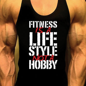Fitness Is A Lifestyle, Bodybuilding Tank, Mens Workout Shirt, Racerback Singlet Y-Back, Muscle Tee, Mens Fitness Gym Tank, Fitness Apparel