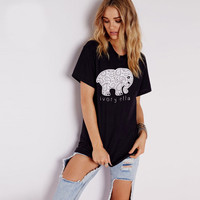 Free Shipping 2017 Summer Style Women T-shirt Elephant Ivory Ella Printed Tumblr Casual Loose Female Tee Tops Clothes