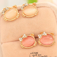 Hello Kitty Jewelry With Crystal Bowknot Opal Cute Cat Stud Earrings For Women Female Cat