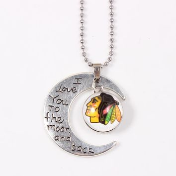 I Love You To the Moon And Back Necklace NHL Chicago Blackhawks Pendant Necklace Women Men For Ice Hockey Fans