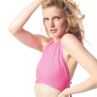 Hot Spot Pink Neon Halter Crop Top / One Size / Free Ship USA