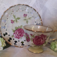 Vintage Lusterware Teacup & Pierced Porcelain Saucer, Vintage  Iridescent Tea Party, Lusterware Teacup Matching Saucer, Shabby Chic