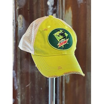 """Mountain Dew """"Sled"""" Hat- Distressed Lime Green Snapback"""
